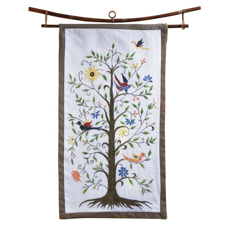 Vibrant Tree of Life Wall Hanging. This hand-embroidered piece of art made in India - Ten Thousand Villages  #embroidery