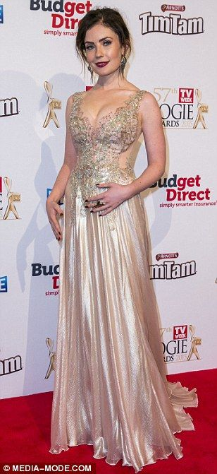 Gold glamazons: Samantha Jade and Love Child star Gracie Gilbert flaunted their cleavage i...