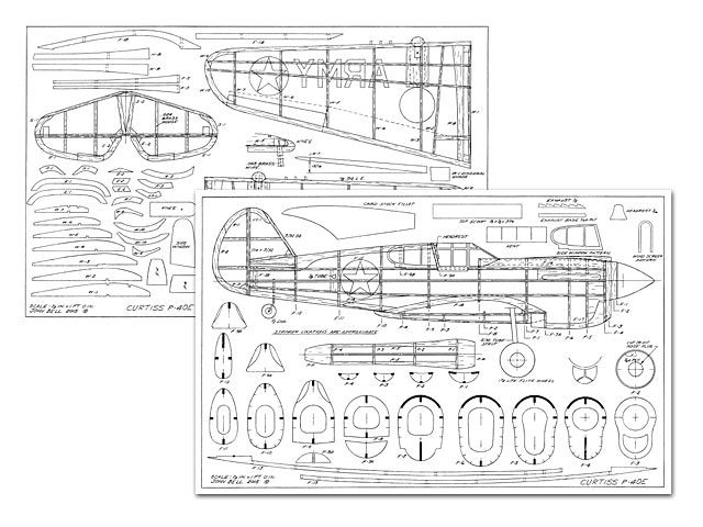 Curtiss P 40 Plan Thumbnail Balsa Wood Model Airplane Plans