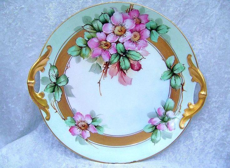 "Beautiful J & C Bavaria 1913 Hand Painted ""Wild Roses"" 11"" Plate by the Listed Artist, ""Rheinhold Freiberg"""