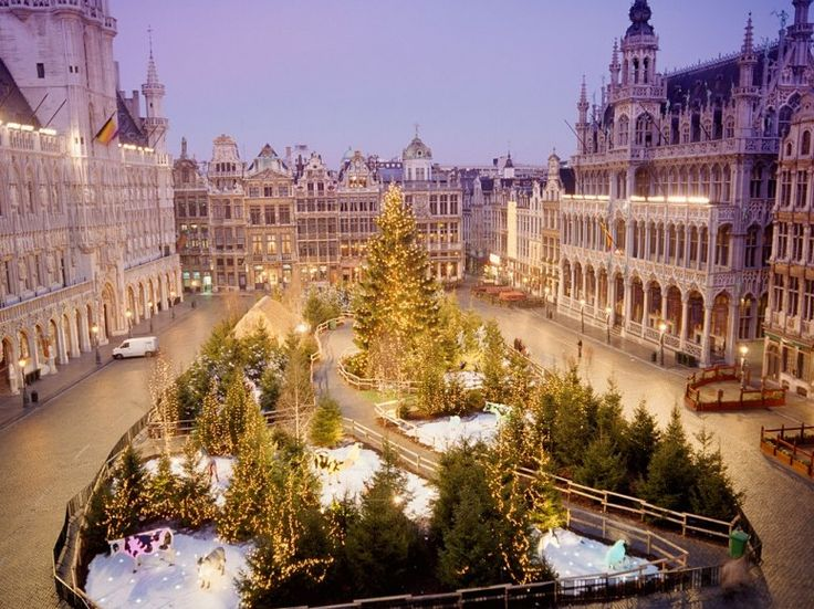 BRUSSELS The historic Grand-Place, the main square of Brussels, transforms into a veritable winter wonderland each year. An enormous, quintessentially European Christmas market (where you can order up Belgian waffles, naturally) sits underneath the gloriously illuminated facades of the surrounding buildings, including the gothic 15th-century Town Hall, which is the setting for a sound-and-light show and fronted by a towering Christmas tree.