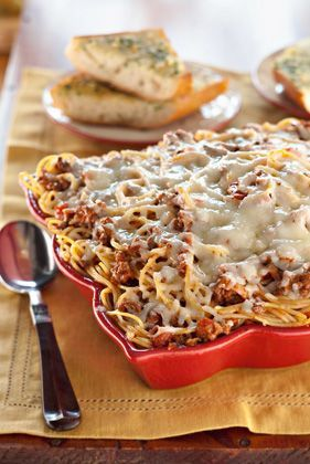 Spaghetti Casserole!  This is one of my friends husbands favorite recipes and it is soooo easy!