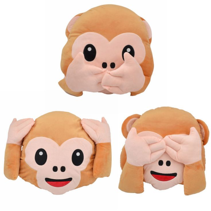 1 Pc Emoji Smiley Emoticon Monkey Pillow Soft Stuffed Plush Toy Home Decor Doll