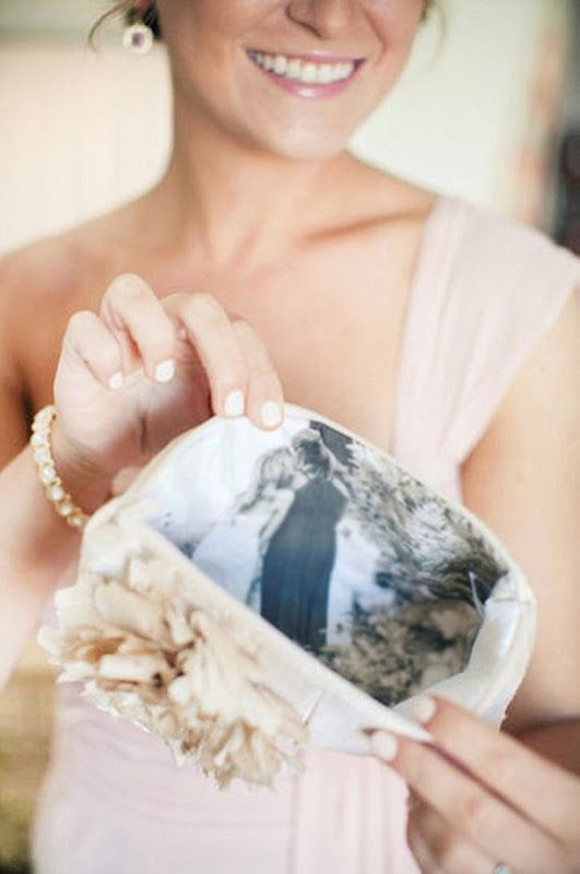 Pretty wedding clutch with personal photo inside for mother of the bride