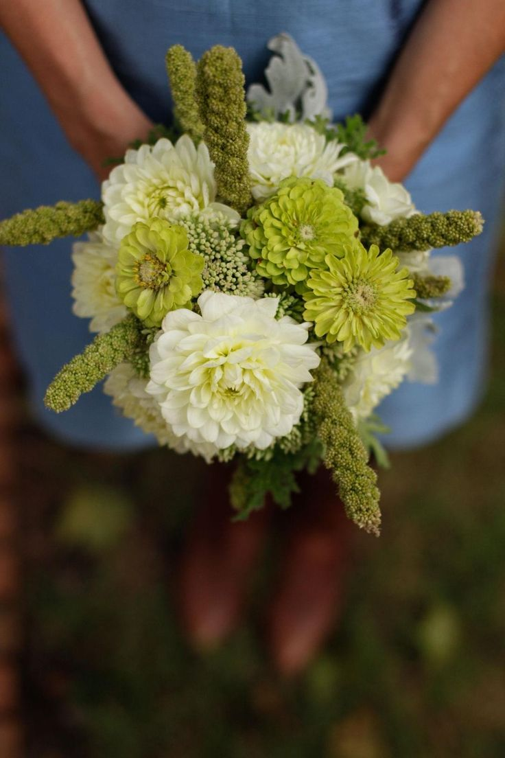 White chrysanthemum, green zinnia, bridesmaid bouquet // Jen Fariello Photography