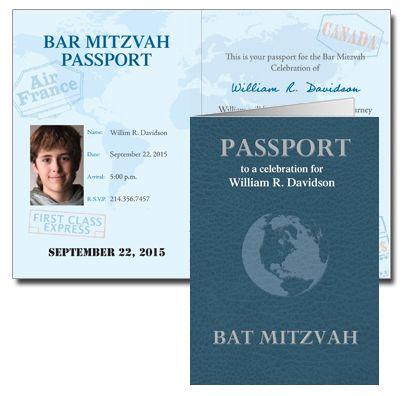 Travel Party Theme Ideas | Passport Bar & Bat Mitzvah Invitations from Bar Mitzvah Cards - mazelmoments.com