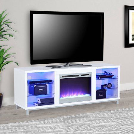 Lumina Fireplace TV Stand for TVs up to 70 inch Wide, Multiple Colors, White