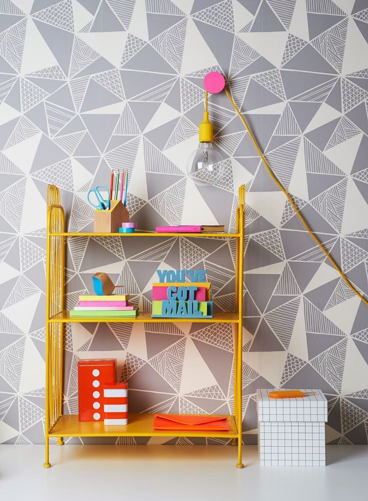 Kids Room Design With Modern Lamp and Geometric Wallpaper