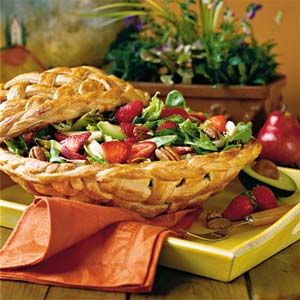 "Strawberry-Chicken Salad - ""A festive basket made from refrigerated breadstick dough turns this simple-to-fix salad into a showstopping centerpiece."""