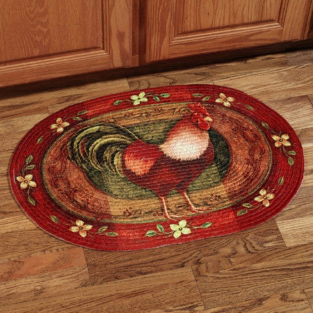 Rooster Braded Oval Rug