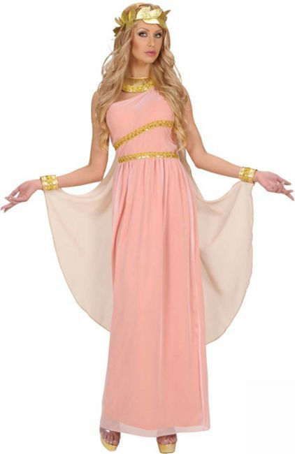 Disfraz de la diosa griega Afrodita: Este disfraz de Afrodita para mujer se compone de un vestido con capa y manguitos, un collar y una corona de laureles. El vestido es de color rosa con motivos dorados a la altura de la cintura y el...