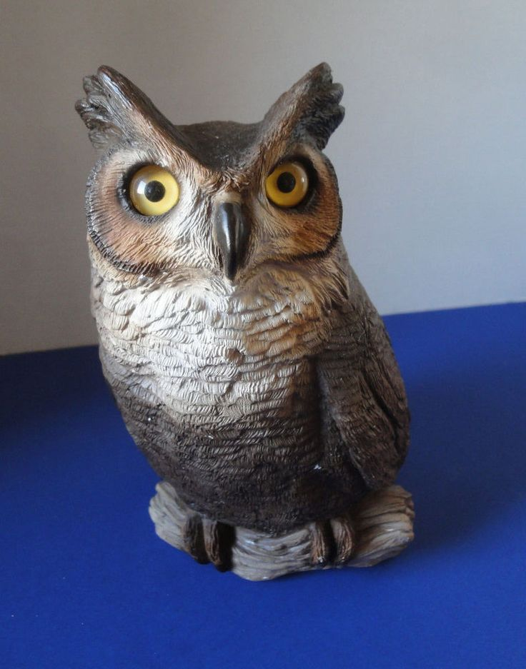 Stunning Hand Cast & Hand Painted Owl With Glass Eyes Vintage 1985 Signed Brue