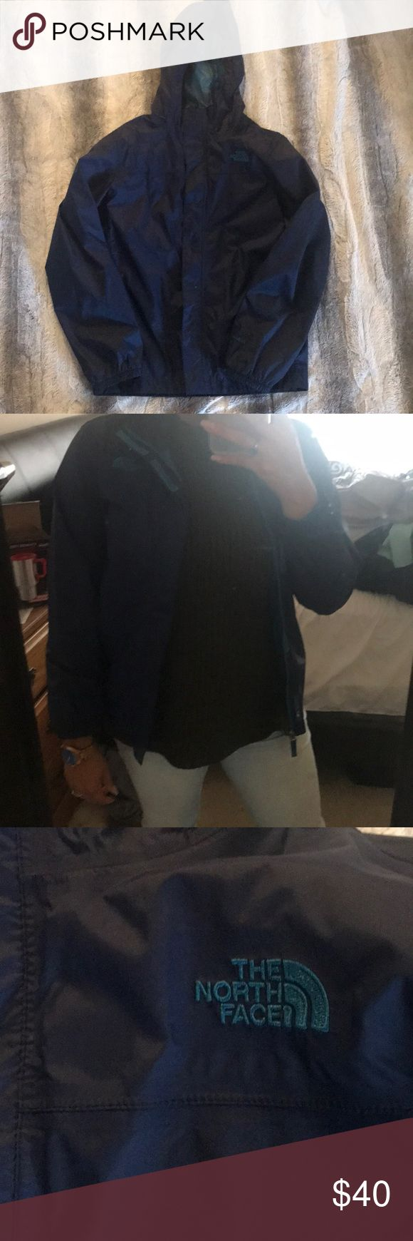 NWOT Northface Rain Jacket Navy Blue and teal Northface rain Jacket. Boys large, fits like women's small. Rain repellent, Leigh weight, wind resistant. Perfect for rainy days spent outdoors. North Face Jackets & Coats Utility Jackets