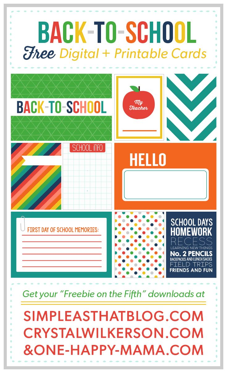 For this month's Freebies on the Fifthwe have a fun set of Back to School themed journaling and filler cards for you! Scroll down for the link to downloadmy three cards, then visitCrystal's Blogand Rebecca's blog to download the rest! All cards are available in JPG and PDF format! Click HERE to download the three cards that I designed! Hope you all enjoy it! Hard
