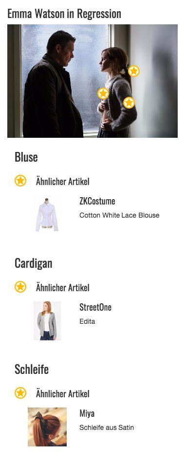 Hellgrau und kuschelig ist dieses Modell aus der Sammlung von gestrickten Cardigans, die Angela Gray (Emma Watson) im Film Regression zur Schau stellt. Der Wollstoff ist grob gearbeitet und der Schnitt gerade. Vorne lässt sich die Strickjacke mit einer einfachen Knopfleiste schließen. Lediglich an den Bündchen ändert sich das Strickmuster der Jacke, die ansonsten eher schlicht wirkt. Dafür lässt sich das Kleidungsstück aber auch problemlos kombinieren.