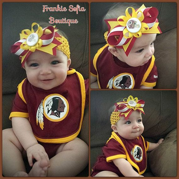 Baby Washington Redskins Headband/Clip Infant by Frankiesofia, $10.95 --- My hubby would love this!