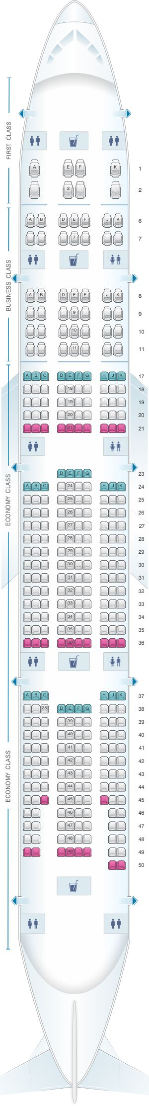 Seat Map Emirates Boeing B777 300ER three class private suite