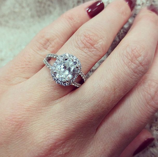 Oval Emerald Engagement Ring