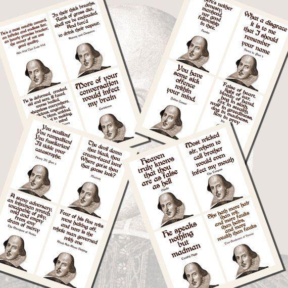 Insultes shakespeariennes imprimables taille de par imagesbythebook