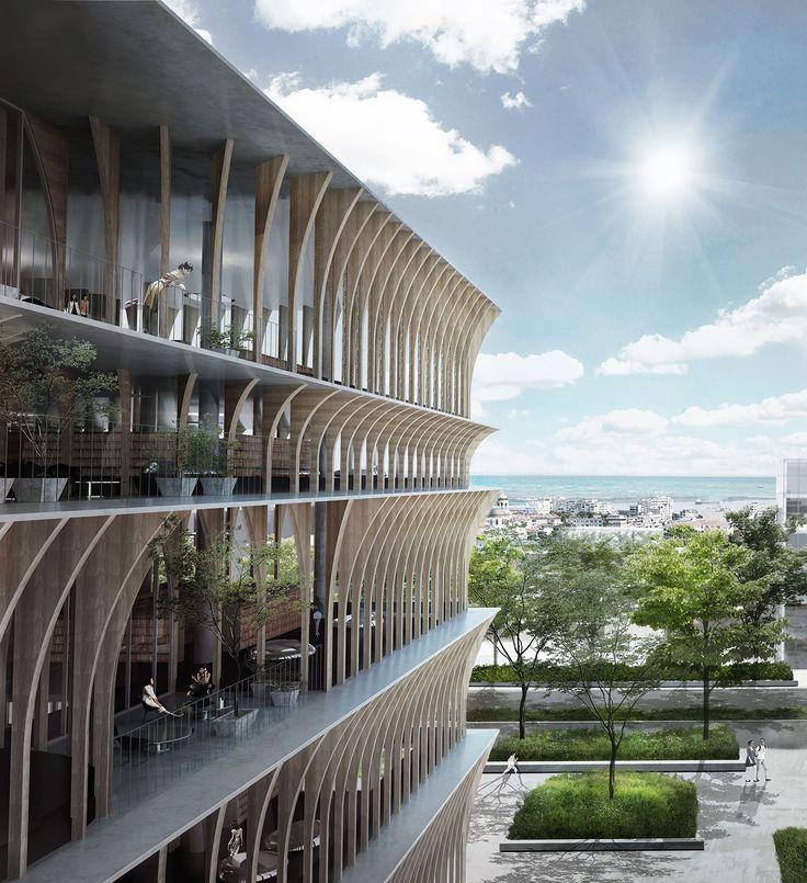 香港の建築設計事務所スペイシャルプラクティスによる、ブルガリアのヴァルナ公立図書館国際設計競技の3等案です。 計画地ヴァルナは、世界最古の黄金の宝物が発見された場所で、オスマン期には数多くの木造建築が立ち並び、ブルガリアの「海の首都」と呼ばれる場所です。 今日、仮想デジタルの影響はソーシャルメディアと他のメディア によって度々称賛され、我々は様々なメディアにつながり、露出することを切望する世界に住んでいます。 その中で公共空間の役割はますます再定義され、もはや単体のプログラムを内包する古典的な空間ではなく、都市空間の中で常に何かが起こ り、日常の一部として生活に溶け込む本当の意味でのプラットフォームとなることが求められています。 我々の提案は、図書館の構成のあり方を再構築し、この地域に根 付いた歴史を尊重すると共に、現代の「都市のアゴラ」をつくだすことです。それは、市民が彼ら自身のプライベート空間を図書館に拡張する のを許容するのと同時に、訪問客に出会い、知識の交換、促進を提供するまちに開かれた図書館です。 ※以下の写真はクリックで拡大します 以下、建築家...