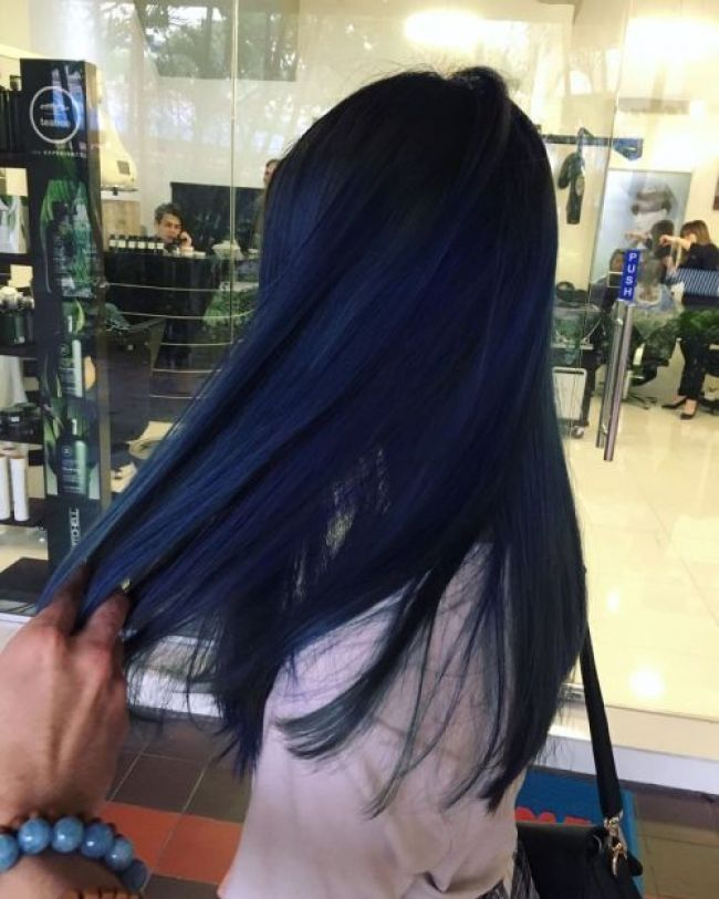 Image Result For Dark Blue Hair Straight Hair Styles Blue Ombre