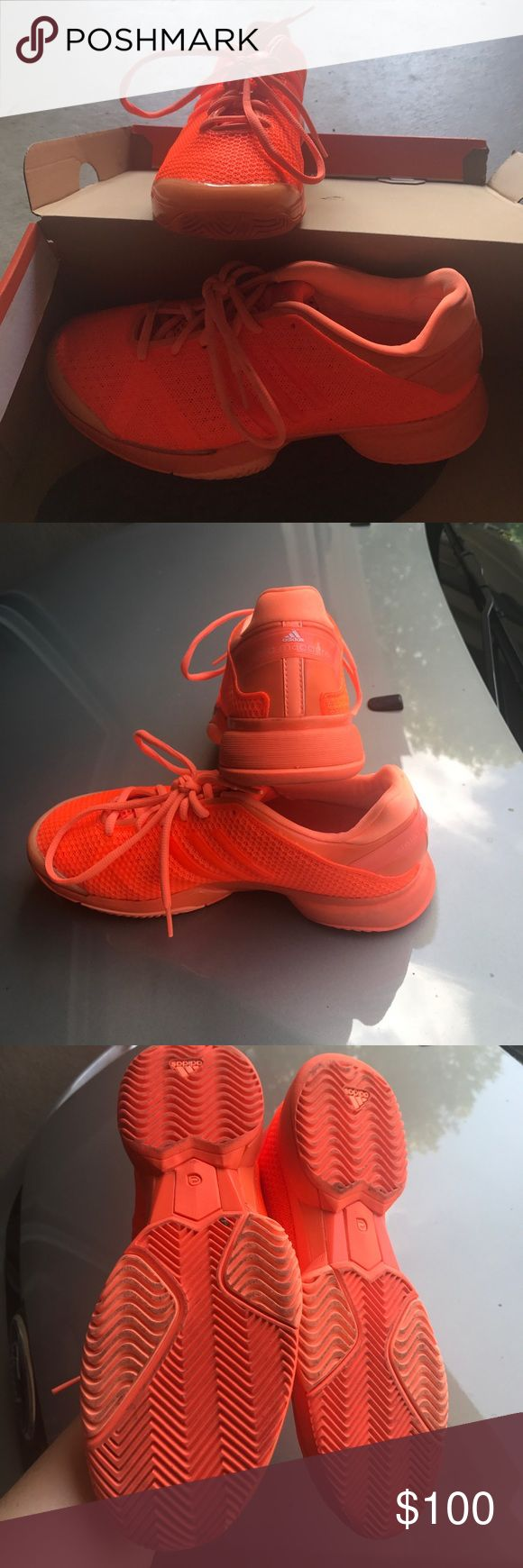 Adidas by Stella McCarthy Orange Sneaker 7.5 Awesome bright orange adidias by Stella sneaker! Worn only one time. No sign of wear. Adidas by Stella McCartney Shoes Athletic Shoes