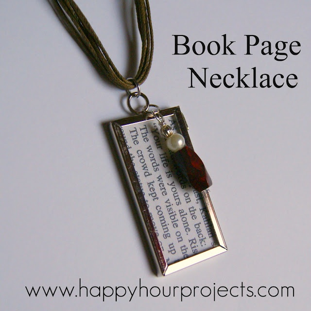 Book page necklace.  Find your favorite quote and wear it!Happy Hour, Ideas, Diy Necklaces, Quote, Hunger Games, Book Pages, Favorite Book, Bible Verses, Crafts