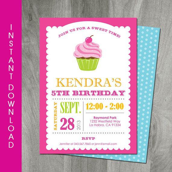 Cupcake Birthday Invitation 5x7 Self