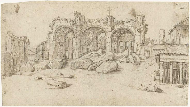 Moses ter Borch | Ruïnes van de Basiliek van Maxentius en Constantijn, Rome, Moses ter Borch, Gerard ter Borch (II), Harmen ter Borch, c. 1611 - 1675 |