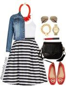 Plus Size Striped Skirt Outfit - Plus Size Fashion for Women - alexawebb.com #alexawebb