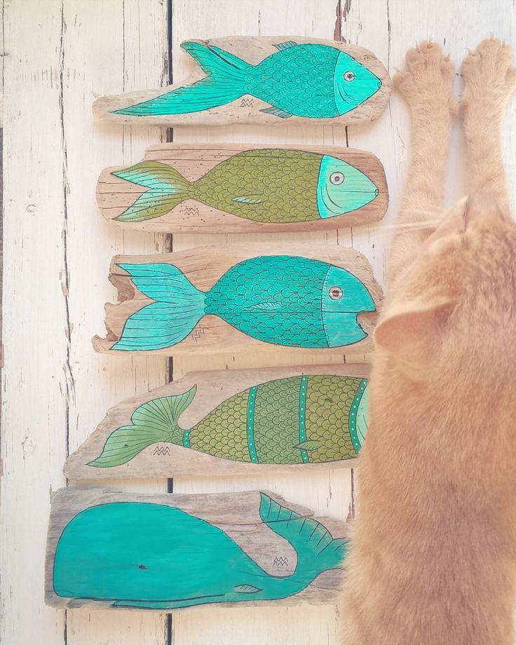 #Fish #Fishes #Cat #Fisch #Fische #Katze - Painting Driftwood Painted Driftwoodart Treibholz Treibholzkunst Strandgut - website: www.kymastyle.com - shop: http://kymastyle.dawanda.com - http://facebook.com/kymastyle - http://instagram.com/kymastyle - http://twitter.com/kymastyle - contact 4 orders + infos: kymastyle@yahoo.com
