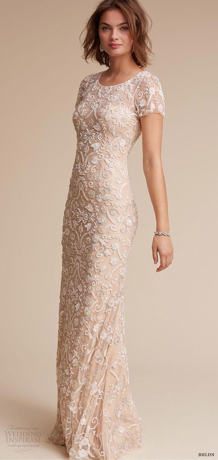 BHLDN 2017 (essex) short sleeves jewel neck sheath column fully beaded wedding dress mv
