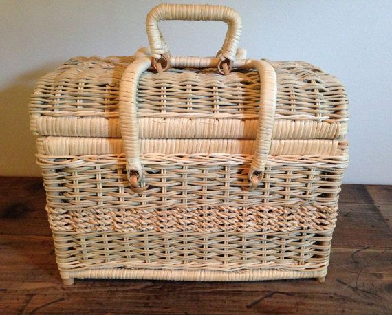 Picnic for 2? Wicker Picnic/Sewing Basket with Lid and by VintageRoseandLace