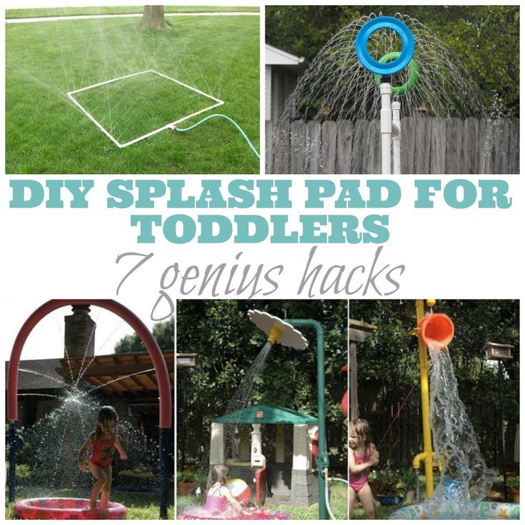 DIY Splash Pad For Toddlers: 7 Genius Hacks. I love this! I have always wanted to make our own splash pad in our back yard. These are some great splash pad ideas!