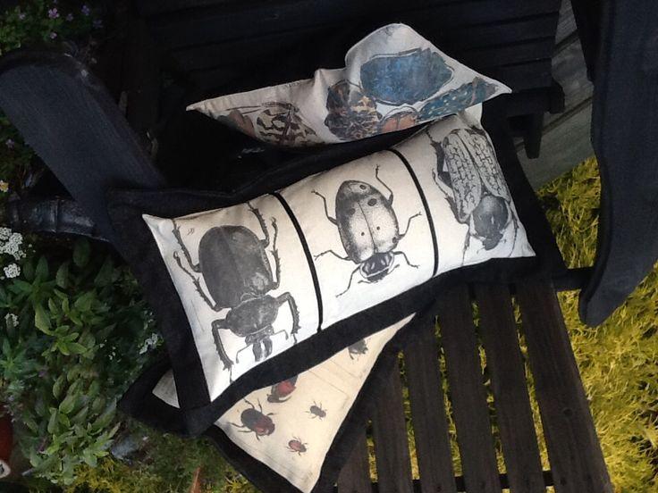 Laser printed, bug cushions