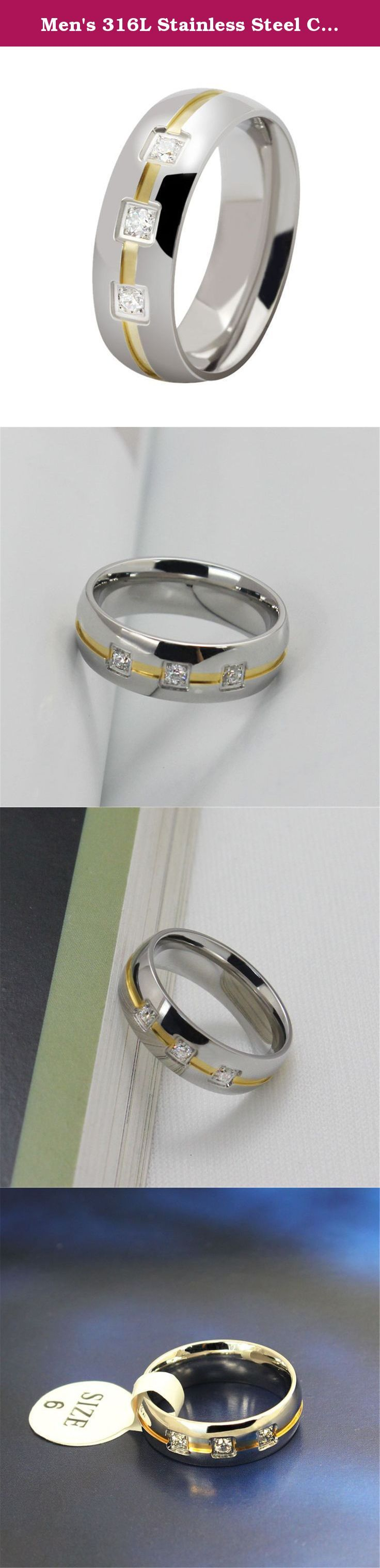 Men's 316L Stainless Steel Cubic Zircon Ring Domed Design Band Ring. Men's 316L Stainless Steel Cubic Zircon Inlaid Domed Design 2 Tone Silver Gold Ring 6mm How to know your size: Step 1: Cut a strip of paper long enough to fit around your finger. Step 2: Wrap the paper somewhat tightly around your finger at the knuckle and mark where the two ends meet. Step 3: Measure the length of the paper from the end to your pencil mark. Warm tips: The paper measurement is intended for reference…