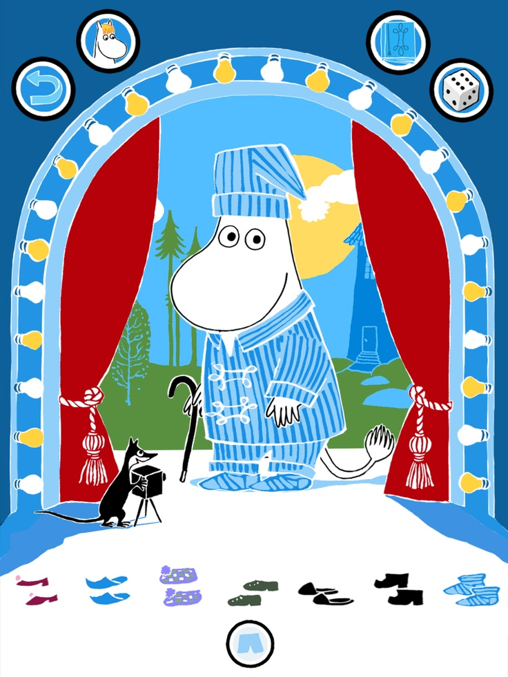 Moomin getting ready to go to bed? https://itunes.apple.com/app/moomin-costume-party/id584735277  https://play.google.com/store/apps/details?id=com.spinfy.pukuleikki