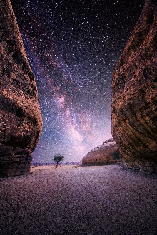 Milky Way & Desert Near The Oasis City of Al-Ula, Saudi Arabia
