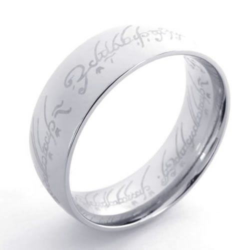 KONOV Jewelry Lord of rings Style Stainless Steel Band Ring, Silver (Available in Size 6, 7, 8, 9, 10, 11, 12, 13, 14, 15) KONOV Jewelry. $7.99. Width: 8mm (0.31 inches). Color: Silver. Material: Stainless Steel. Available sizes: 6, 7, 8, 9, 10, 11, 12, 13, 14, 15