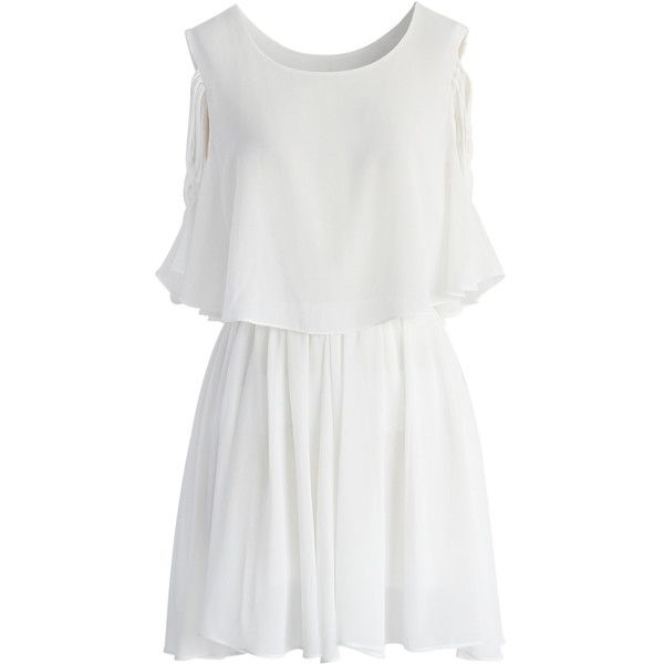Chicwish Ethereal Cold Shoulder Skater Dress in White ($51) ❤ liked on Polyvore featuring dresses, vestidos, white, white holiday dress, wet look dress, cocktail dresses, summer dresses and white day dress