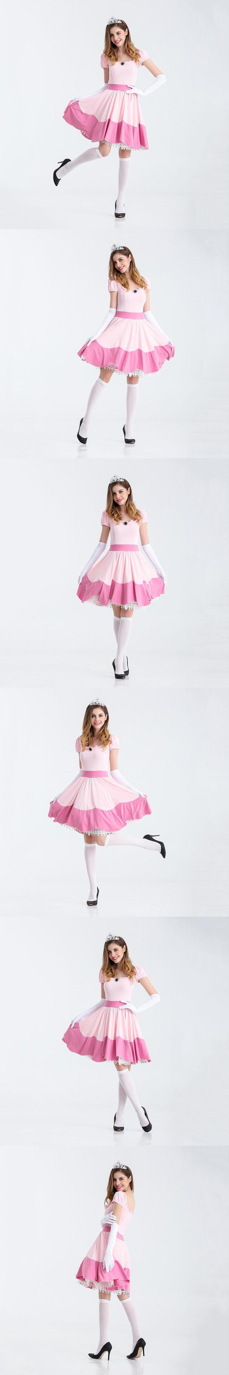 VASHEJIANG Deluxe Adult Princess Peach Costume Women Princess Peach Super Mario Bros Party Cosplay Costumes Halloween Costumes