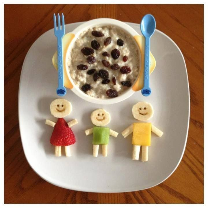 """Fun way to eat oatmeal for kids - Love the fruit people - perfect for """"family"""" theme - PPCD"""