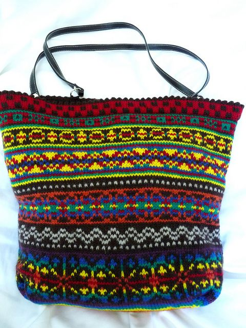 Knitting Bag Pattern Pinterest : 9 best images about Knitted Bags, Purses & Totes on Pinterest Fair isle...
