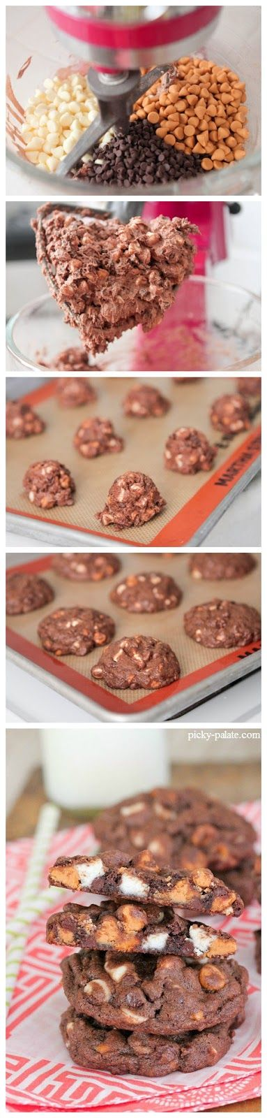Triple Chip Chocolate Chunk Cookies | Chocolat & Candy | Pinterest