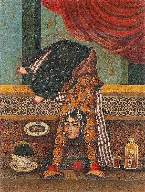 Female Acrobats Oil on canvas IRAN, 19TH CENTURY بانوی آکروبات دوره ی قاجاریه پرتره یک زن جوان دوره ی قاجاریه ایستاده بر روی دو دست رنگ روغن