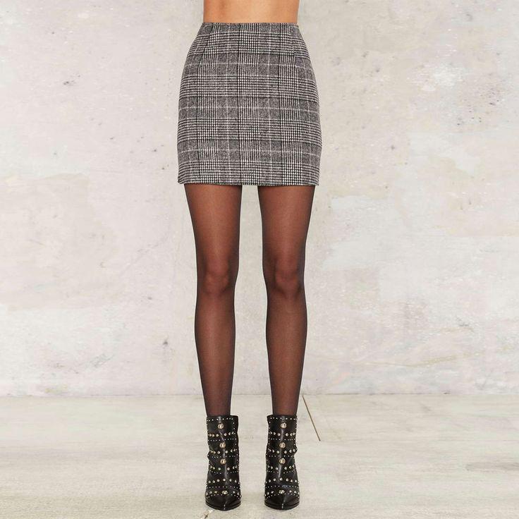 Plaid Zipper Woollen Fashion Skirt Autumn Winter Bodycon Women Skirt Brief Style High Waist Slim Mini Skirt