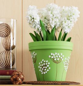 Craft Painting - Queen Anne's Lace Clay Pot