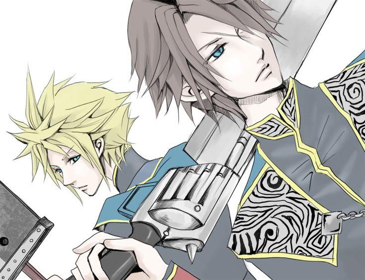 Cloud Strife and Squall Leonhart. Fan art. Final Fantasy VII and Final Fantasy VIII.