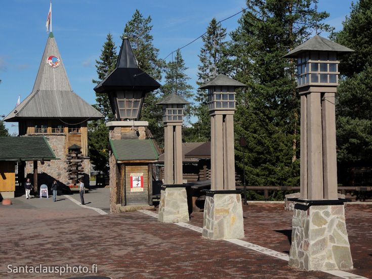 Santa Claus Village during the summer and the arctic circle line