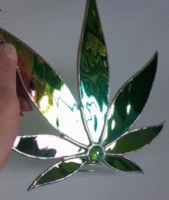 Pot Leaf Tree Topper, Stained Glass Free Standing Marijuana Leaf, Cannabis Decor on Etsy, $35.00